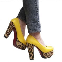 $15.46 Causal Chunky Heel Women's Pumps With Leopard Print and Round Head Design