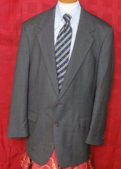 Pierre Cardin Men's Gray Glen Plaid Wool Blend 2 Button Suit Size 44L #PierreCardin #TwoButton