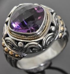 New Bali Sterling Silver 18K Gold Cushion Amethyst Solitaire Scroll Ring 6 NWOT #Solitaire