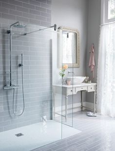 Contemporary vintage shower room love it!