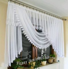 Curtain with a 2 m wide scarf decorated with guipure - Firana z szalem ozdobiona . Curtain with a 2 m wide scarf decorated with guipure – Firana z szalem ozdobiona gipiurą Curtains And Draperies, Elegant Curtains, Beautiful Curtains, Home Curtains, Kitchen Curtains, Drapery, Valances, Curtain Styles, Curtain Designs