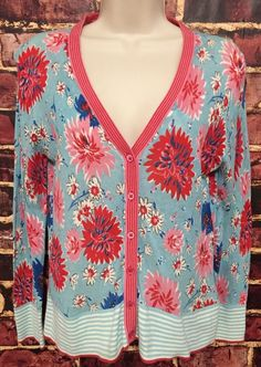 Boden Blue Pink Floral Cotton Crinkle Knit Cardigan Sweater Size Small  | eBay