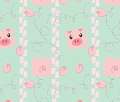 Dancing Pigs on Mint fabric by me-udesign on Spoonflower - custom fabric