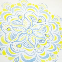 Blue and yellow mandala #zen #peaceandlove #watercolour @rebeccafeinerdesign
