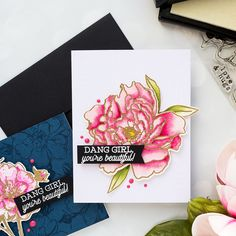 Hero Arts   Monochromatic Floral Cards (Almost No Coloring!) by Yana Smakula. Video tutorial. #heroarts #heroflorals #cardmaking #monochromaticcards #stamping