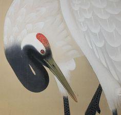 Cranes by Yukimatsu Shunpo, Japanese scroll painting.