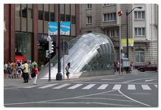 entrance to a Metro station in Bilbao, Spain; designed by Norman Foster
