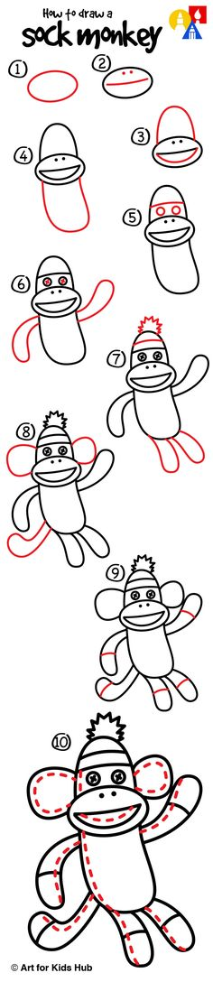 Learn how to draw a sock monkey!