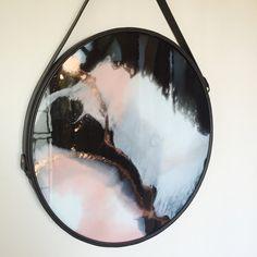 C U S T O M resin art with round metal by StellaandOliveDesign