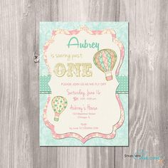Items similar to hot air balloon baby shower invitation girl, vintage hot air balloon invitation, up up and away, digital, printable invitation on Etsy Shabby Chic Invitations, Vintage Invitations, Printable Baby Shower Invitations, First Birthday Invitations, Balloon Invitation, Invitation Ideas, Invitation Cards, Vintage Birthday Parties, Birthday Ideas