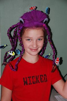 Octopus hair for Crazy Hair Day at school.