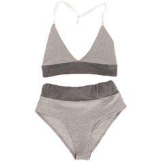 Grey Halter Bra Briefs Set (€23) ❤ liked on Polyvore featuring intimates, lingerie, underwear, undies, halter top, grey lingerie and halter-neck tops