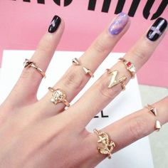 **Sold Out** Midi Punk Style 7 Piece Finger Ring Set $20