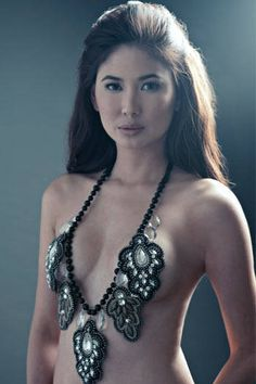 Sexy Filipina CJ Jaravata with nothing but her necklace on... #sexy #hot #pinay