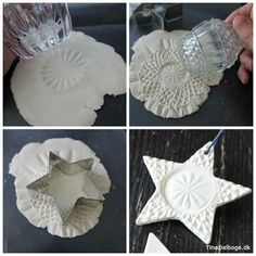 DIY Weiße Sterne aus weißem Ton mit feinem Muster (Tina Dalbøges kreative Erfindungen) DIY white stars made of white clay with a fine pattern (Tina Dalbøge's creative inventions) Salt Dough Christmas Ornaments, Christmas Clay, Clay Ornaments, Homemade Christmas, Christmas Projects, Holiday Crafts, Holiday Ideas, Star Ornament, Santa Handprint Ornament