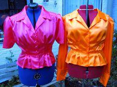 1940er Jahre Stil Peplum Bluse in jeder Farbe satin Bluse