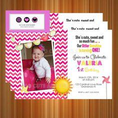 My little sunshine invitation, 1st birthday, sunshine, chevron, pink, yellow, printable invite
