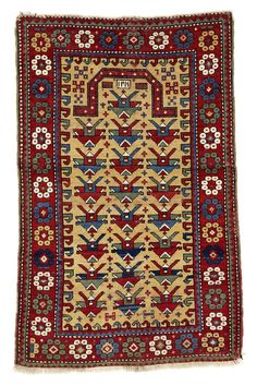 "Old caucasian prayer rug ""Kazak"", South West Caucasus, Azerbaijan, 127 x 81 cm. Dated 1216 A.H. = 1802 A.D."