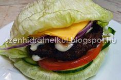 Szénhidrátmentes, fehérjedús diétás és fitness receptek fogyókúrához, Atkins diétához, sportoláshoz: Hamburger házilag Atkins-módra szénhidrátmentes húspogácsával