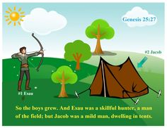 For this Jacob & Esau lesson,I set up areas in the classroom and we acted out the lesson. I used the tent that is always up for 'Isaac...
