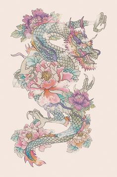 Dragon tattoo sketch don't like the flowers, but the dragon yes