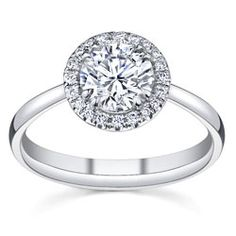 main view of Round Prong Set Engagement Ring With Diamond Halo By Sareen Jewelry
