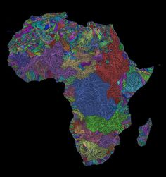 River basins of Africa in rainbow colours.