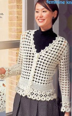 Japanese Crochet Women Flower Trim Cardigan Top For by DotsStripes, $3.50