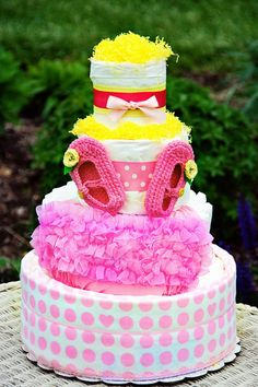 All Diaper Cakes - Elegant Pink 4 Tier Diaper Cake, $139.95 (http://alldiapercakes.com/elegant-pink-4-tier-diaper-cake/)