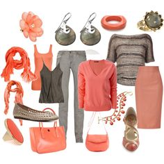 Coral and Gray MIx and Match, created by theapatricia on Polyvore