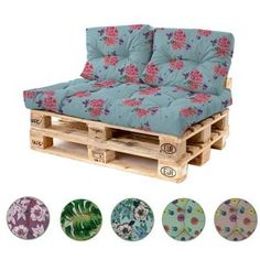 Water Resistant Tufted Corner / Side Cushion for Pallet Furniture Seating - Spots Blush. Outdoor Pallet Seating, Garden Seating, Pallet Furniture Cushions, Pallets Garden, Pastel Floral, Seat Cushions, Colours, Decoration, Home Decor