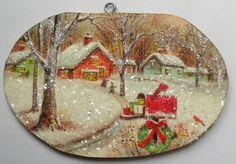Snowy Houses Mailbox Cardinal Glittered Christmas Ornament Vtg Greeting Card