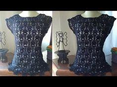 BLUSA PRETA DE CROCHÊ - AULA COMPLETA - YouTube Crochet Tablecloth, Crochet Videos, Baby Knitting, Beautiful, Sweaters, Macrame, Dresses, Patterns, Youtube