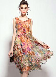 Vestidos de - $69.09 - Seda Floral Sem magas Altura do Joelho Vintage Vestidos de (1955096520)