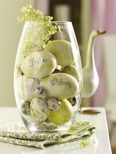 these are eggs and i thought they were rocks. I am going to use this idea with smooths stones my kids have painted at home. can buy stones $1 a bag a Dollar Tree.