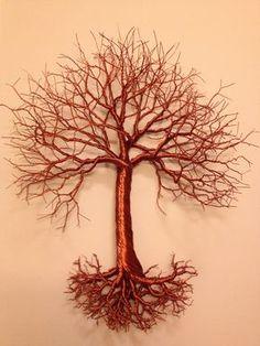 "Large 15"" hanging, copper wire tree art. www.Facebook.com/TwistedForest www.Etsy.com/shop/TwistedForest"