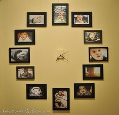 Photo Wall Clock:  Since I am an apartment dweller I would get a piece of stretched canvas and do this.  I would laminate pictures and put velcro on the back so Icould change the pictures as often as I want. I am thinking of using old black and white pictures!