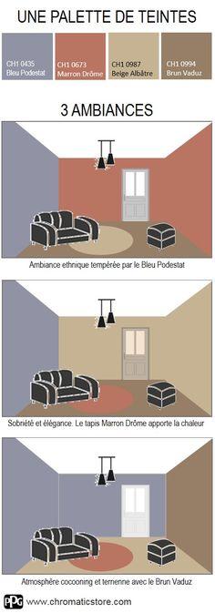3 ambiances autour du Bleu #Podestat et d'une palette de tons #bois et #briques. A vous de jouer ! www.chromaticstore.com