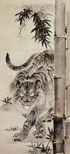 竹虎之図 Bamboo Tiger - 河鍋暁斎 Kawanabe Kyōsai