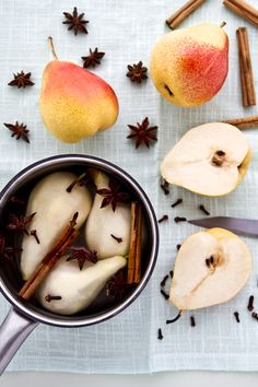 Poached pears.  I do like pears.  This looks easy.  The blog it is linked from looks awesome but I'd skid the meringue cupcakes.