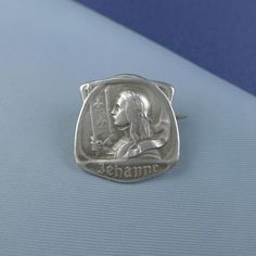 """Joan of Arc brooch marked """"Jehanne"""" with flat reverse. Sterling, front. (US $89.95)"""