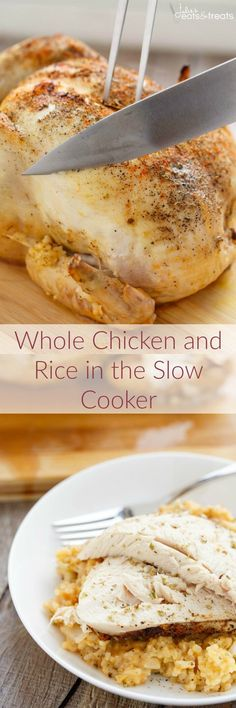 Crock Pot Chicken and Rice Dinner ~ Whole Chicken and Rice in the Slow Cooker Flavored with Onions and Spices! You can't Go Wrong…