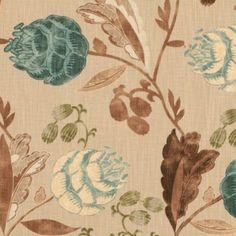 Roselle Teal Fabric By The Yard | Ballard Designs