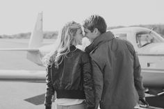 Vintage Airplanes Motorcycles Engagement Shoot \ Julie Shane