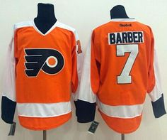 Flyers  7 Bill Barber Orange Stitched NHL Jersey a6122add5
