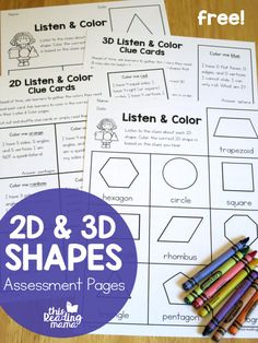 My 1st and 2nd graders just finished up a unit on 2D and 3D shapes. I plan on a sharing another freebie soon from it, but I thought I'd share our free 2D and 3D Shapes Assessment Pages today with you.