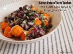Sweet Potato Tater Tachos with Black Bean Salsa and Pepper Jack Cheese