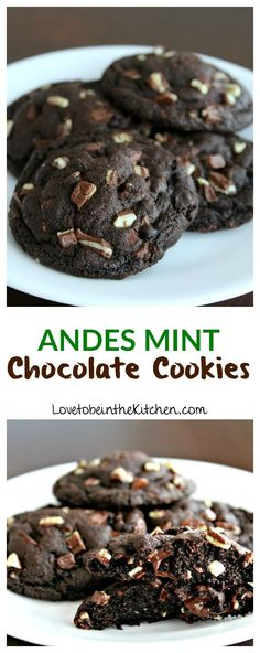 Chocolate Cookies Andes Mint Chocolate Cookies- Soft and chewy chocolate cookies full of Andes Mints and melty chocolate chips.Andes Mint Chocolate Cookies- Soft and chewy chocolate cookies full of Andes Mints and melty chocolate chips. Andes Mint Cookies, Mint Chocolate Chip Cookies, Chocolate Cookie Recipes, Cookies Soft, Chocolate Mint Brownies, Crazy Cookies, Almond Cookies, Chocolate Muffins, Brownie Recipes