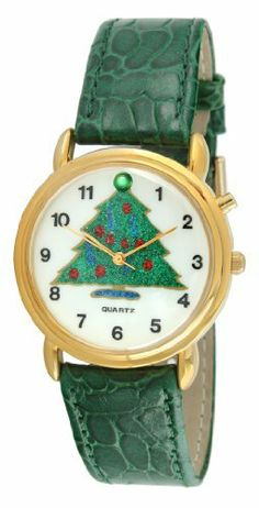 Trax TR848 Christmas Tree Musical Watch Viva Time Corp.. $29.99. Atractive gold tone accents. Fits any size wrist. Comfortable green leather strap. Plays 3 Christmas songs