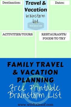 Family Travel & Vacation Planning: Brainstorm List Printable - wildtalesof.com